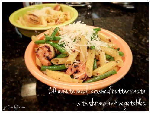 20 minute meal- browned butter pasta with shrimp and vegetables